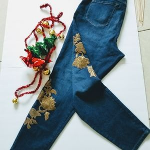 Style & Co. Embroidery Jean Curvy Skinny Leg Sz 16